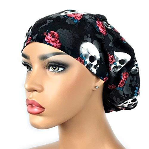 (Women's Black Surgical Scrub Hat Nurse Ponytail Adjustable Euro Bouffant Skulls Roses DK Scrub Hats)