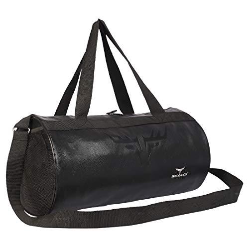 BREGGABOG Blackster Leatherette Gym Bag Duffel Bag Shoulder Bag for Men and Women Emboss Logo (Black)