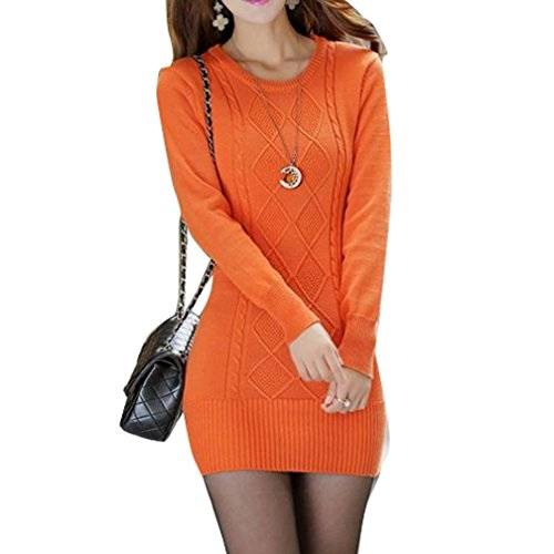 Annisking Women Fashion Cable Knitted Pullover Long Slim Sweater -S24A6 free shipping