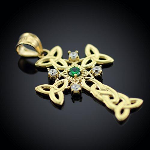 Petits Merveilles D'amour - Pendentif - 10 ct Or 471/1000 Celtique Croix Celtique diamant Avec Véritable Pendentif Emeraude