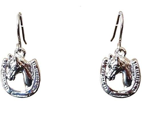 Silver Plated Kentucky Derby Horse & Horseshoe Dangle Hook Earrings Women Made in USA