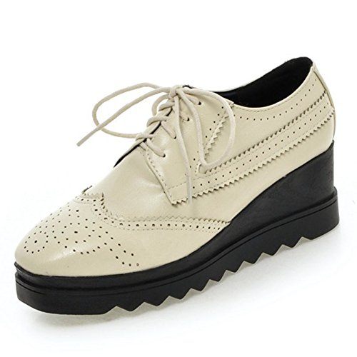 Womens Aisun Lace Vintage Sneakers Up Beige Mid Platform Sole Wedge Shoes Toe Square Thick Heels Casual dCCxfp