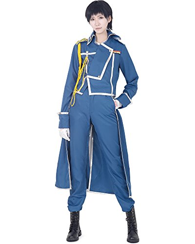 Miccostumes Mens Fullmetal Alchemist Roy Mustang Cosplay Costume Medium Blue