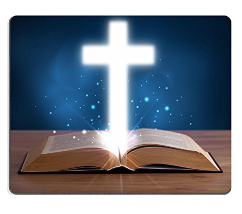 Luxlady Mousepad Open holy bible with glowing cross in the middle on wooden deck IMAGE 25015758