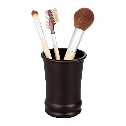 InterDesign Olivia Metal Tumbler, Makeup Brush Holder and Toothbrush Cup for Bathroom, Countertop, Desk, Dorm, College, and Vanity, 3.25
