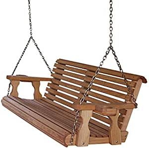 Amish Heavy Duty 800 Lb Roll Back 4ft. Treated Porch Swing with Cupholders - Cedar Stain