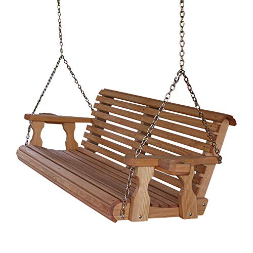 Amish Heavy Duty 800 Lb Roll Back 5ft. Treated Porch Swing With Cupholders – Cedar Stain