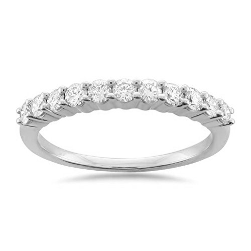 Platinum 11-Stone Round Diamond Bridal Wedding Band Ring (1/2 cttw, H-I, VS2-SI1), Size 7.5