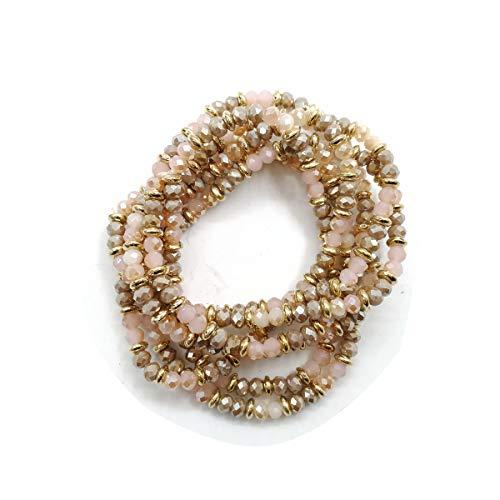 Karen accessories 7 pcs Stretch Beaded Bracelet Collection, Women's Bohemian Stretch Bead Multilayer Bracelet Hair Tie (Pink Mix)