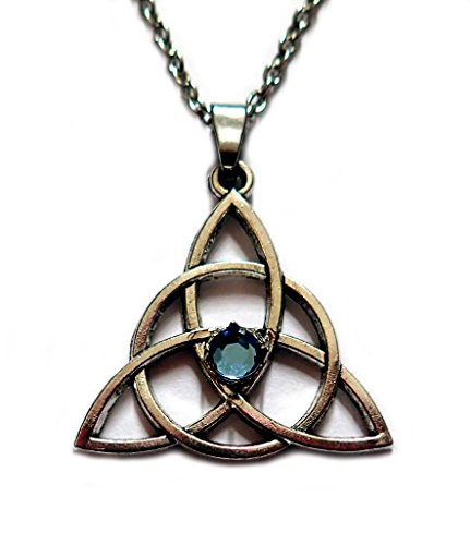 Moon Maiden Jewelry Celtic Triquetra Tinity Knot Silver Pendant Light Blue Stone