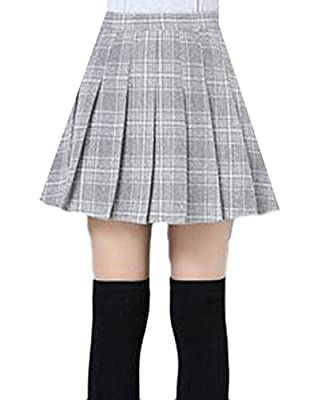 Cromoncent Womens Casual Wool Blend A-Line Plaid High Waist Pleated Mini Skirts