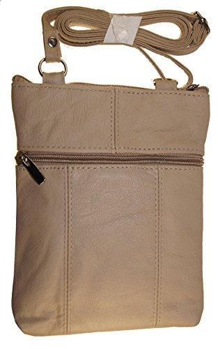 Cream Women And Girls Genuine Leather Cross Body Messenger Handbag, Purse by Wallet (Image #1)