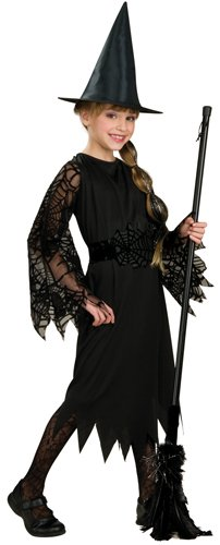 Halloween Concepts Child's Witch Costume with Flocked Velvet Spider Web Fabric, Large - Velvet Witch Child Costumes