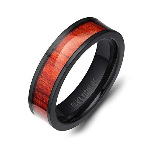 SOMEN TUNGSTEN 6mm Black Titanium Ring for Men Women Mahogany Wood Inlay Wedding Band Comfort Fit Size 10