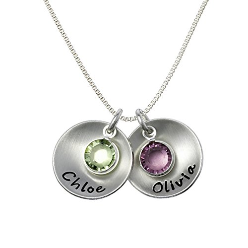 Take Two Round- Personzlied Sterling Silver Necklace. Customize Two 0.625 Inch Round Discs Names and Swarovski Birthstones. Matte Finish. Choice of 925 Chain. Makes Great Gifts for Mom