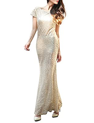 Flapper Girl Women's Gold Mermaid Sequins Backless Long Bridesmaid Dresses Wedding Party Gown