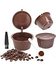 FOROREH 3 stuks herbruikbare koffiecapsules voor Dolce Gusto machine, navulbare koffiecapsules, koffiepads met koffielepel en reinigingsborstel
