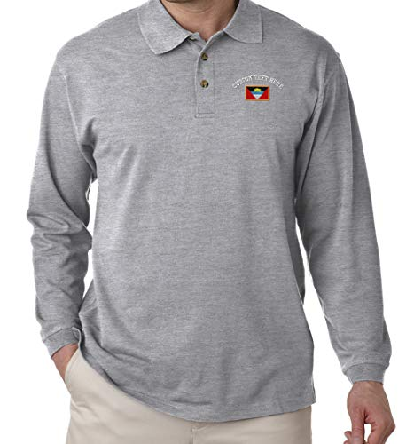 - Custom Text Embroidered Antigua Barbuda Unisex Adult Button-End Spread Long Sleeve Cotton Polo Jersey Shirt Golf Shirt - Oxford Grey, 2X Large