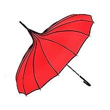 BIGBANBAN Pagoda Umbrella Retro Wedding Parasol Sun Rain Umbrella (Red)