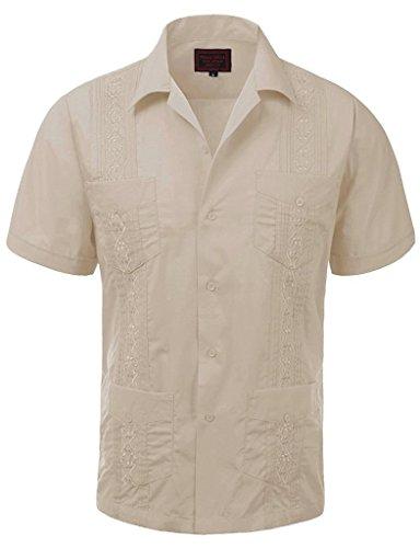 Guayabera Men's Cuban Beach Wedding Short Sleeve Button-Up Casual Dress Shirt (Large, Sand) (Button Wedding)