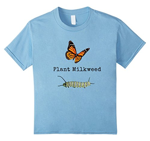 Kids Monarch Butterfly Plant Milkweed Caterpillar T-Shirt 8 Baby (Caterpillar Toddler Shirt)