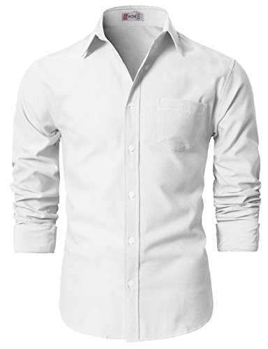 H2H Men's Solid Color 100% Cotton Oxford Long Sleeve Button Down Casual Shirt White US L/Asia XL (KMTSTL0521) by H2H (Image #2)