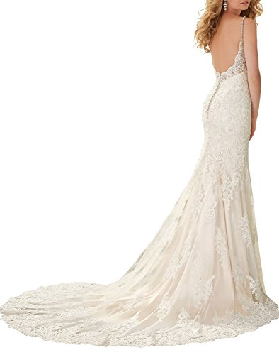 Meerjungfrau Spitzen Straps Backless Women's Formelle White Kleid Spaghetti Kleides Fanciest Wedding xXUIP1ww