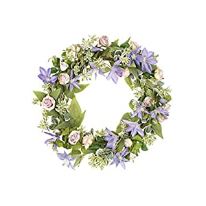 LTWHOME WHPCL 21.5 Inch Handmade Spring Summer Wreath with Clematis, Rose, Greenery for Front Door, Wall, Mantelpiece, Window Decoration 11