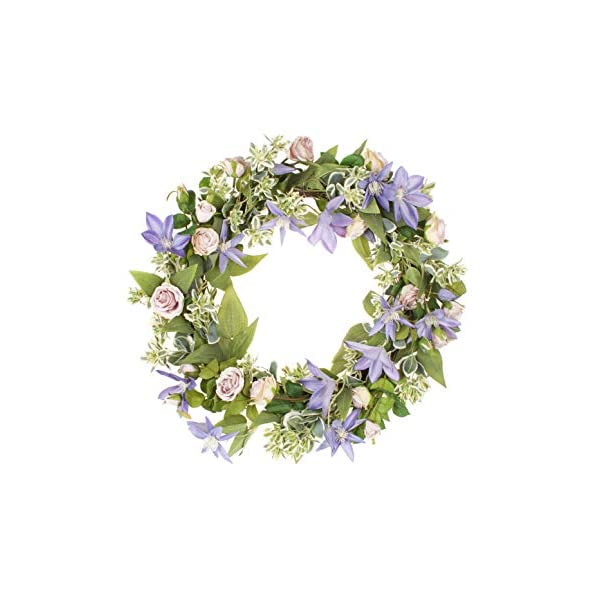 LTWHOME WHPCL 21.5 Inch Handmade Spring Summer Wreath with Clematis, Rose, Greenery for Front Door, Wall, Mantelpiece, Window Decoration