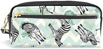 Zebra Animal Pattern Estuche verde con compartimentos bolsa con cremallera para niños y niñas: Amazon.es: Oficina y papelería