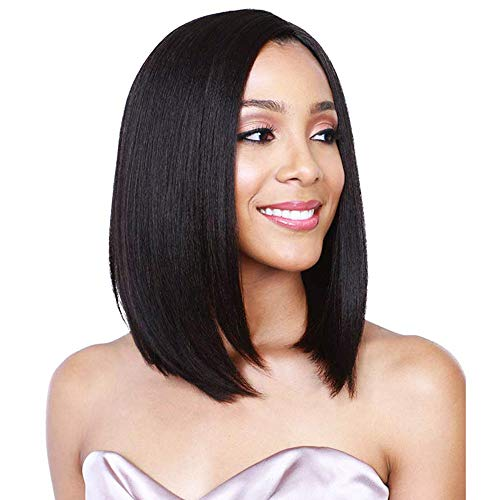 BeautyColor 14 Bob Wigs Short Straight Synthetic Hair Full Wigs Heat Resistant for Black White Women, Black Wig for Halloween, Weddings, Cosplay, Concerts, Theme parties, Dating, Black