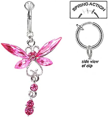 Fake Belly Navel Non Clip on Pretty Pink Dragonfly dangle Ring