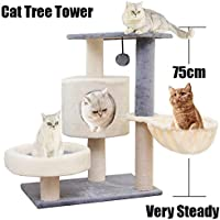 Cat Tree Tower House 29.5 inch (75cm) with Comfortable Short Plush,with a Basket Lounger,a Cat Condo and two Watchtowers,Extra Thick Posts Completely Wrapped in Sisal,Easy to Assemgbly, Grey