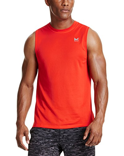 Mission Men's VaporActive Alpha Sleeveless T-Shirt, Fiery Red, Medium