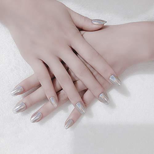 24Pcs Full Cover Hand Painted Holographic Chrome Dip Nail Powder Salon Kit Handmade Medium Oval False Gel Nails Art Tips(silver)