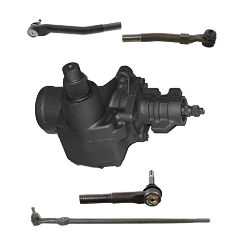 Detroit Axle - 5-Piece Suspension/Gearbox Kit - 1 Power Steering Gearbox (reman), 1 Tie Rod Drag Link (new), 2 Outer Tie Rod End Links (new), 1 Outer Tie Rod Drag Link (new) - Fits 4WD/4x4 ONLY 1 Piece Axle