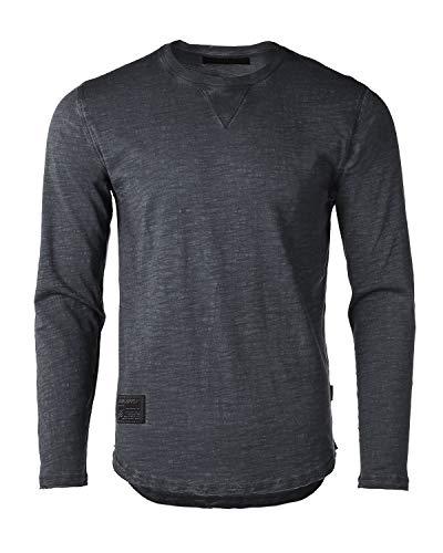 ZIMEGO Mens Long Sleeve Crewneck Raw Cut Edge Oil Wash Vintage T-Shirts