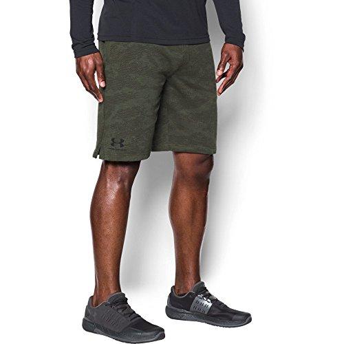 Under Armour Men's Sportstyle Fleece Camo Shorts, Downtown Green (330)/Black, Medium