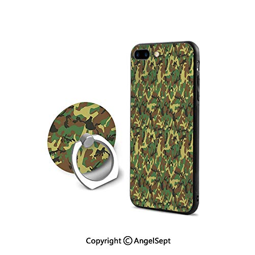 Protective Case for iPhone 8/iPhone 7 with Ring Holder Kickstand,Woodland Camouflage Pattern Abstract Army Force Hiding in Jungle,Cushion Protective Cute Case,Dark Green Light Green Brown