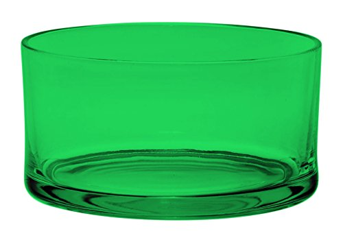Large Glass Round Salad Bowl - Serving Dish - 120 Oz - Full Color Emerald Green - Additional Vibrant Colors Available by TableTop King