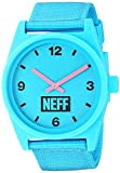 neff Adult's Daily Analog Watch with Silicone Band Unisex, cyan/black/woven, One Siz