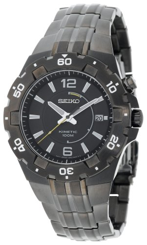 (Seiko Men's SKA447 Sport Kinetic Black Ion Finish See-Thru Case back Watch)