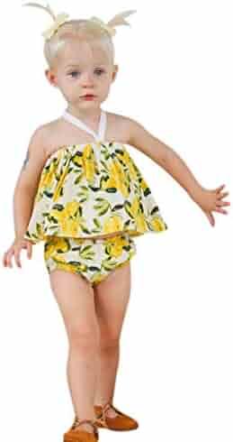 dbb469da3c294 Baby Girls' Summer Clothes Set Toddler Newborn Summer Lemons Print Strap  Off-Shoulder Tops