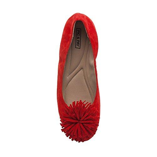 Pic / Pay Kiana - Ballerina Nappa Da Donna Elastica Piatta - Pompon In Pelle Scamosciata Decorata Comoda Su Scamosciato Rosso Scamosciato