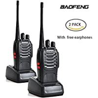 CDC® 2 PCS BaoFeng BF-888S Long Range UHF 400-470 MHz 5W CTCSS DCS Portable 2 way Ham Radio with Original Earpiece for Travel, Camping (Pack of 2)