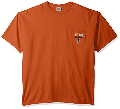 Image One NCAA Cal State Fullerton Titans Baseball Frame Short Sleeve Pocket T-Shirt, - Pocket Shirt Titan