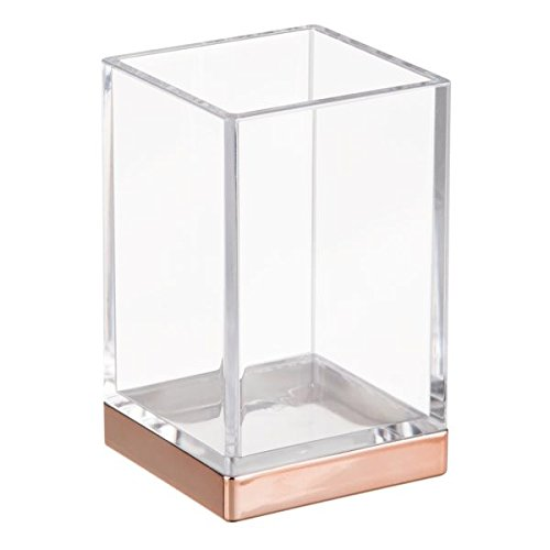 InterDesign Clarity Solid Toothbrush Holder/Stand for the Bathroom, Made of Plastic, Clear and Rose Gold 41188