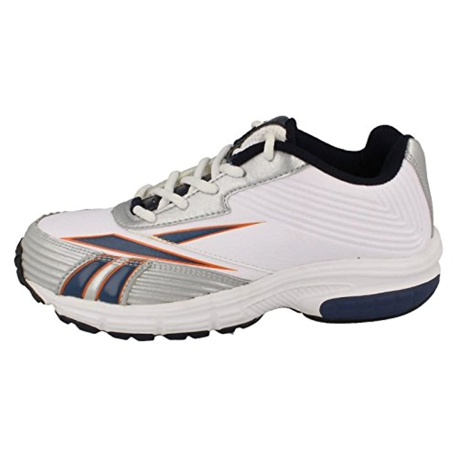 Boys Reebok Sporty Trainers Winning Stride II - White/Navy/Silver - UK Size 1.5 - EU Size 32.5 - US Size 2
