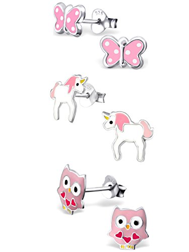 925 Sterling Silver Set of 3 Pairs Pink Unicorn, Pink Butterfly, Pink Owl Stud Earrings for Girls (Nickel Free)