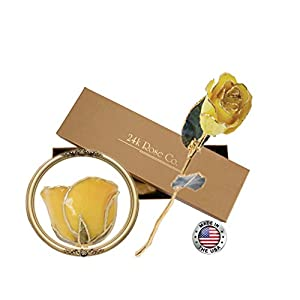 Gifts for Women- Long Stem Dipped 24k Gold Rose in Gift Box- Best Gift for Valentines, Mothers, Anniversary, Birthday Gift and Treating Yourself 2